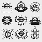 Ship steering wheel label and element set. Vector Royalty Free Stock Photography