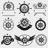 Ship steering wheel label and element set. Vector Royalty Free Stock Image
