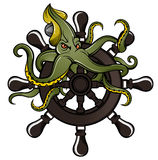 Ship steering wheel with octopus Royalty Free Stock Photos