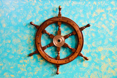 Ship steering wheel, Sardinia, Italy Stock Photography