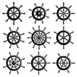 Ship steering wheel set. Vector Stock Image