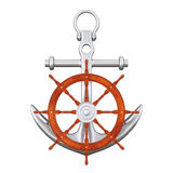 Ship Steering Wheel with Silver Nautical Anchor. 3d Rendering. Ship Steering Wheel with Silver Nautical Anchor on a white background. 3d Rendering Stock Image