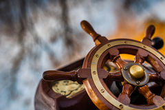 Ship steering wheel Royalty Free Stock Images