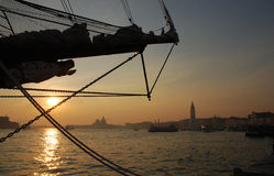 Ship Stern at Sunset in Venice Stock Photo