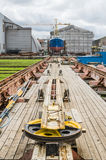 Ship on the stocks in the shipyard Royalty Free Stock Photos