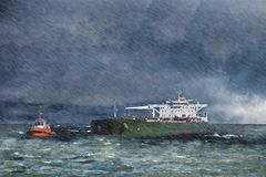 Ship in the storm. Big ship on sea during a heavy storm with rain Royalty Free Stock Photos