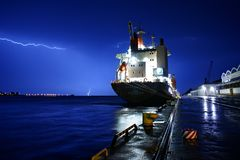Ship with the storm royalty free stock image