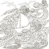 Ship in storm in the ocean, coloring page vector Stock Images
