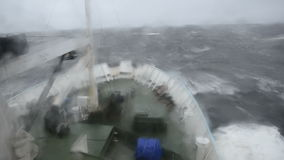 The ship is in a storm at sea