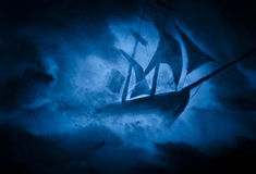A ship in a storm. Strong sea storm and the ship Royalty Free Stock Images
