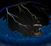 Ship in the storm on the waves in the sea and Stock Photo