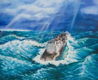 Ship in a stormy sea. Oil painting on canvas.Ship in a stormy sea Stock Image