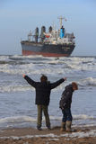 Ship stranded in Wijk aan Zee, The Netherlands Royalty Free Stock Photography