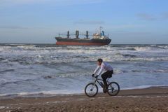 Ship stranded in Wijk aan Zee, The Netherlands Stock Photo