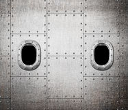 Ship or submarine window metal background Stock Image