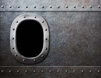 Ship or submarine window steam punk metal background Royalty Free Stock Photography