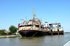 Ship in Sulina, harbor on the Sulina channel on the Danube Delta. Stock Photography