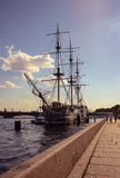 Ship. Summer Day. Neva River. HDR Royalty Free Stock Images