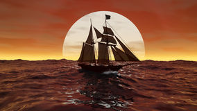 Ship in the sun. 3d image with ocean and ship Royalty Free Stock Image