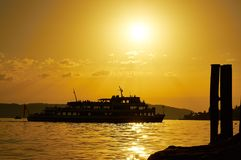 Ship, Sun, Port, Coast, Water Stock Photography