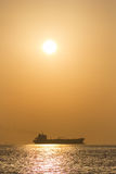 Ship and sun. Royalty Free Stock Photos