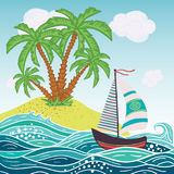 Ship, sun, tropical sea island with palm trees and flowers. Vector illustration. stock illustration
