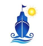 Ship sun waves logo. Design Stock Photos