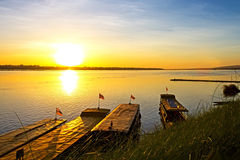 Ship and sunrise Stock Photography