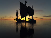 Ship and Sunrise. Ship in the ocean when Sunrise Royalty Free Stock Image