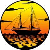 Ship at sunset. Ship silhouette facing the sunset Stock Photos