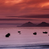 Ship at sunset. Fishing ship at sea with sunset stock photos