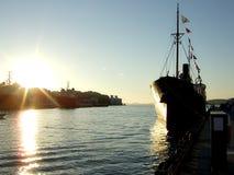 Ship at sunset Stock Photos