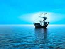 Ship sunset. Ship at sunset - 3d landscape scene Stock Photography