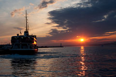 Ship in the sunset Royalty Free Stock Images