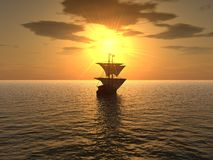 Ship & sunset Royalty Free Stock Image