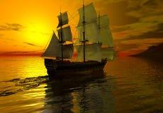 Ship at Sunset. Digital render of a sailing ship at sunset on a calm sea Stock Image