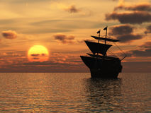 The ship on sunset Stock Photography