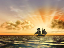 Ship at sunset Royalty Free Stock Photos