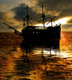 Ship sunset Stock Photography