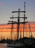Ship at sunset. A ship at dock during sunset Royalty Free Stock Photo