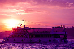 Ship at sunset on the Bosphorus  in Istanbul, Turkey Stock Photography
