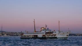 Ship sunset city sea. Skyline and river evening light ship stock video