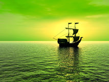 Ship_sunset_LA Royalty Free Stock Photography