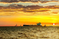Ship at sunset Royalty Free Stock Photography