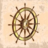Ship_sw_retro_3d. 3d realistic steering wheel icon isolated on a light brown vintage background Royalty Free Stock Photos