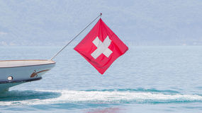 Ship with Swiss flag Stock Photo