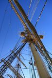 Ship tackles, Rigging on a old frigate Stock Images