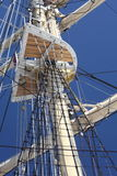 Ship tackles, Rigging on a old frigate Stock Image