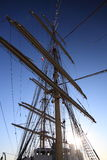 Ship tackles, Rigging on a old frigate Stock Photo