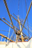 Ship tackles, Rigging on a old frigate Royalty Free Stock Photography